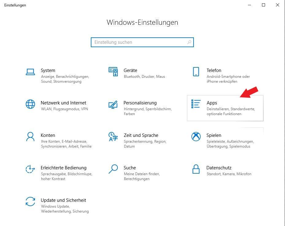 Windows 10: Klickt auf den Punkt Apps in den Einstellungen