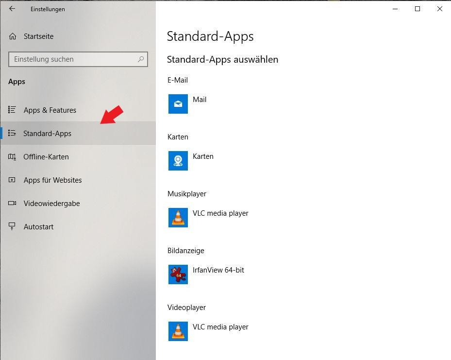 Windows 10: Klickt hier ganz einfach auf den Punkt Standard Apps