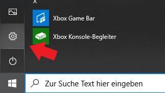 Windows 10: Klickt einfach auf das kleine Zahnrad um die Einstellungen zu öffnen.