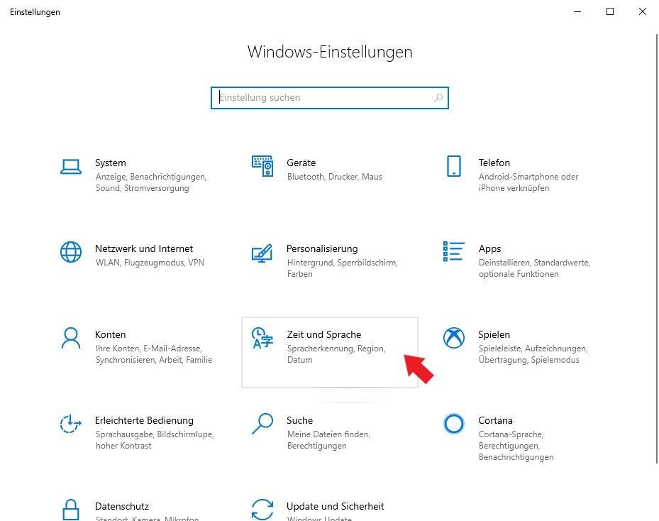 Windows 10: Klickt nun auf Zeit und Sprache