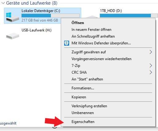 Windows Kontextmenü nach dem Rechtsklick