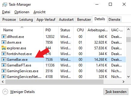Windows 10: Der Prozess Gamebar.exe im Task-Manager