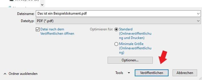 Klickt im Windows Fenster einfach nur noch auf veröffentlichen bzw. speichern.