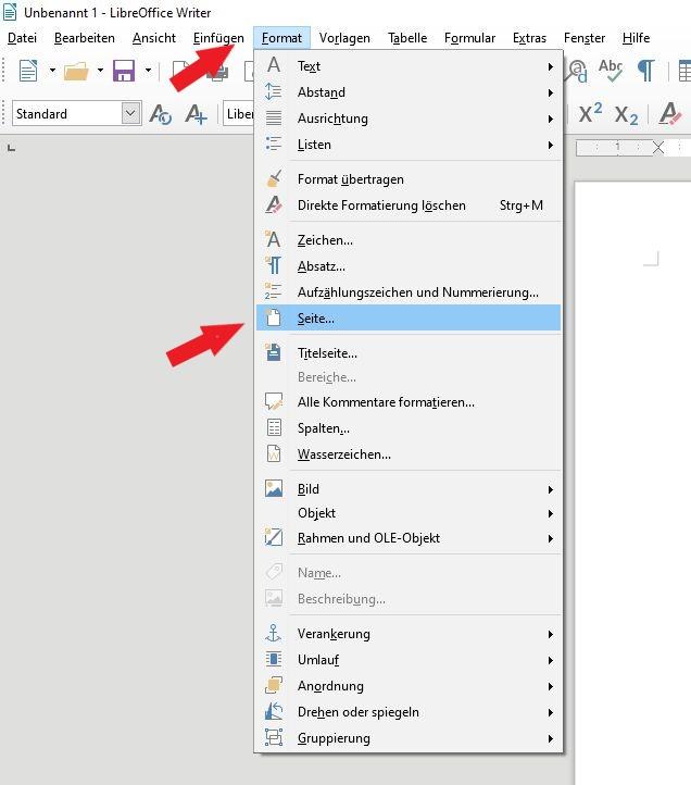 LibreOffice: Klicke erst auf Format, dann auf Seite