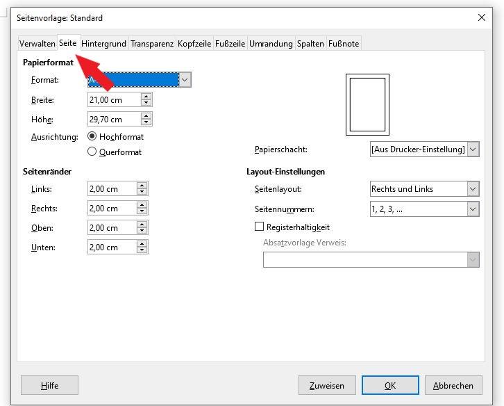 LibreOffice: Klicke nun im neuen Fenster auf den Reiter Seite.