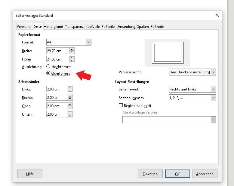 LibreOffice: Nun kannst du Querformat anwählen