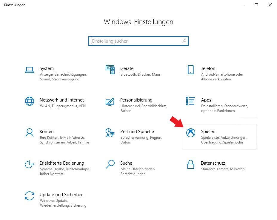 Klickt nun auf den Button Spielen in den Windows Einstellungen