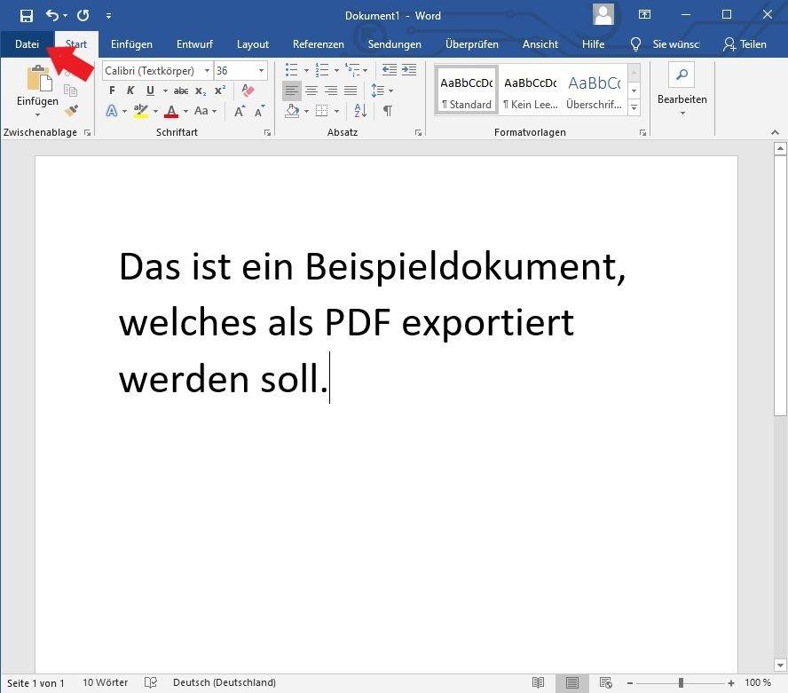 Klickt oben links in Microsoft Word auf die Schaltfläche Datei