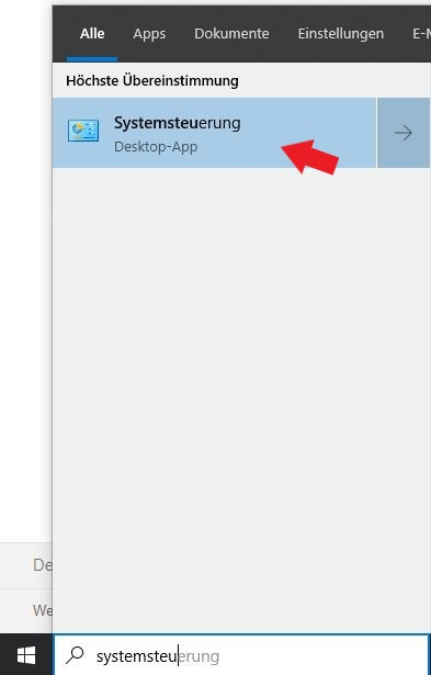 Das jetzt geöffnete Kontextmenü der Windows 10 Suche