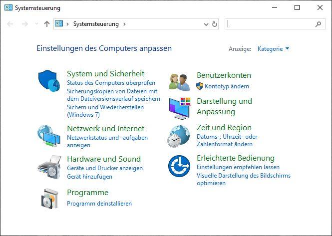 Systemsteuerung aus Windows