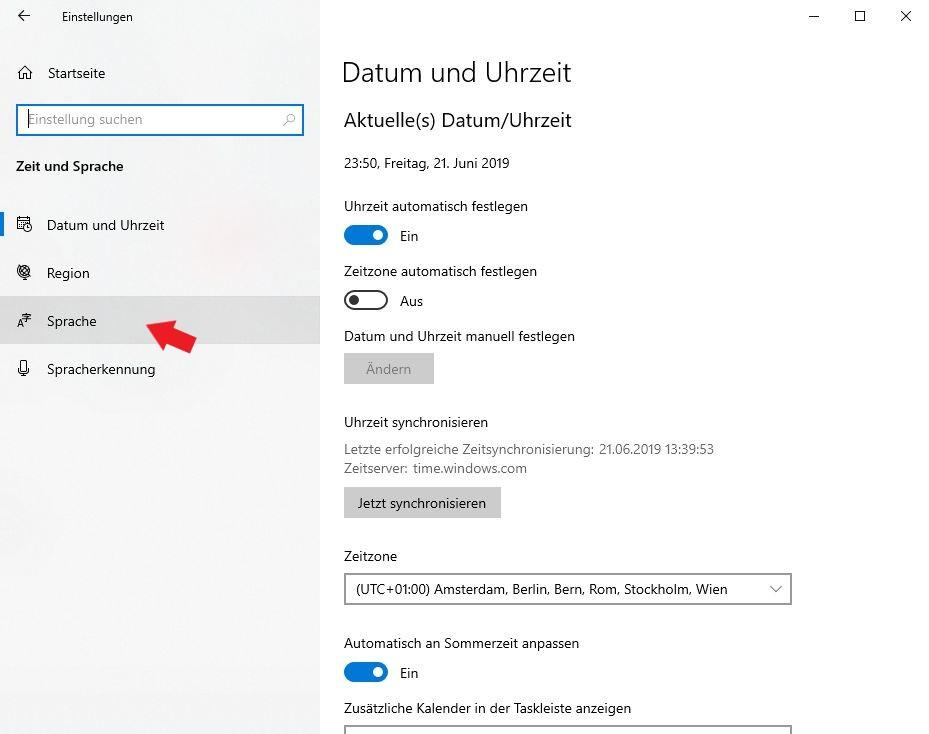 Windows 10: Klickt nun auf den Reiter Sprache