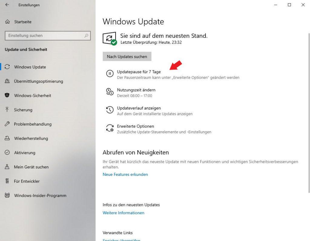 Windows 10: Klickt auf den Punkt Updatepause für 7 Tage um die Updates für 7 Tage zu pausieren.