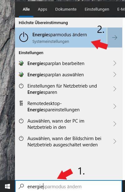 Windows 10 Taskleiste Suchleiste / Einfach nach dem Energiesparmenü suchen