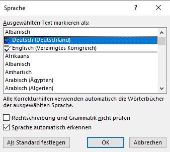 Microsoft Word: Wählt einfach die Sprachen aus, welche ihr braucht.