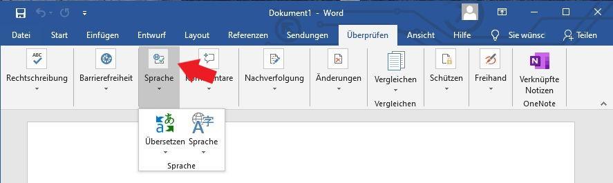 Microsoft Word: Klickt nun ganz einfach auf den Unterpunkt Sprache. / Microsoft Office
