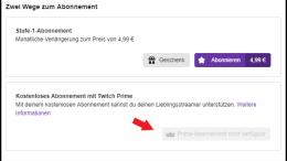 Twitch Prime Abonnement nicht verfügbar