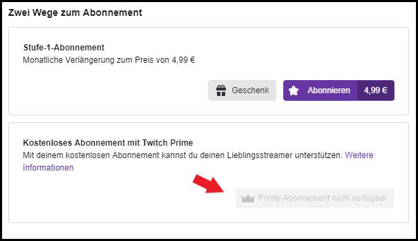 Twitch Prime: Prime-Abonnement nicht verfügbar