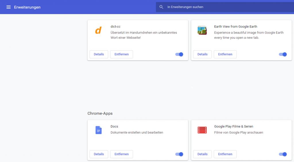 Google Chrome: Installierte Chrome Erweiterungen