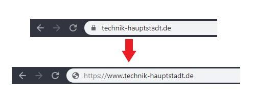 Chrome: Das alte URL Format im Vergleich zum neuen.