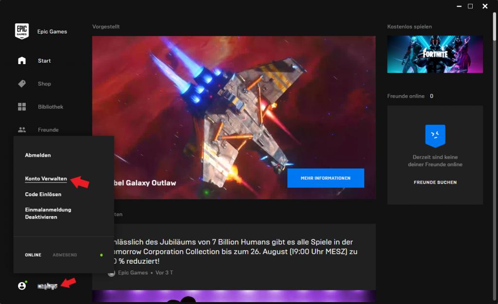 Epic Games Launcher: Konto verwalten