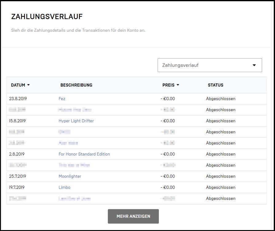 Epic Games Launcher: Zahlungsverlauf