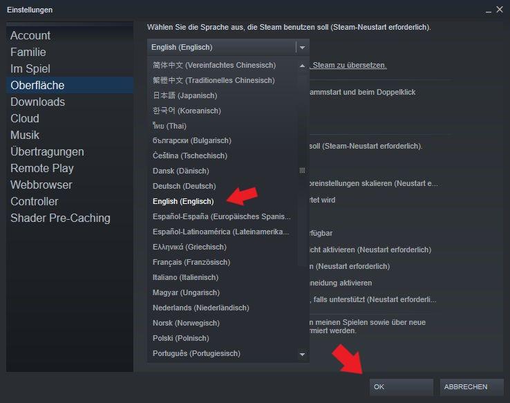 Steam: Hier kann man ganz einfach mehrere Sprachen wie zum Beispiel Englisch auswählen
