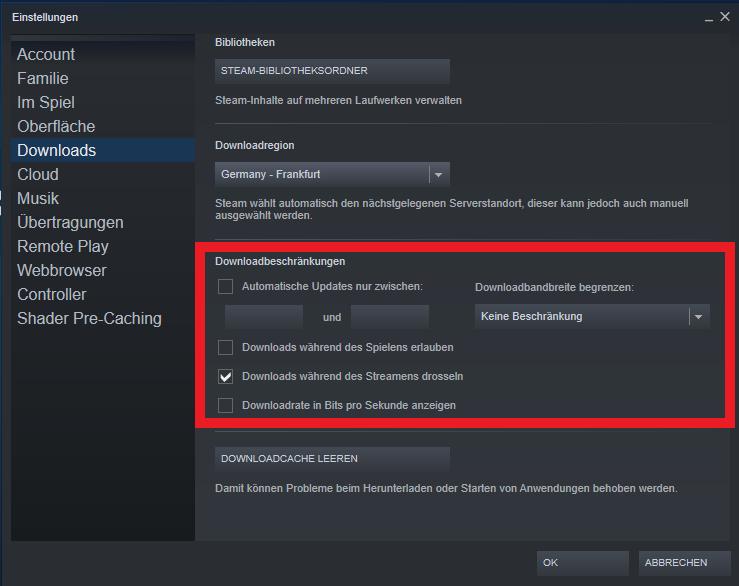Valve Steam: Steam bietet vielfach Download-Beschränkungen. Diese sollten alle deaktiviert sein.