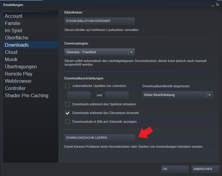 Valve Steam: Leert ganz einfach euren Download Cache von Steam. Oftmals wird der Download dadurch schneller.