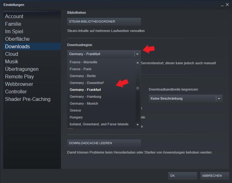 Valve Steam: In der Software Steam kann man den Download Server in den Einstellungen einzeln ändern.