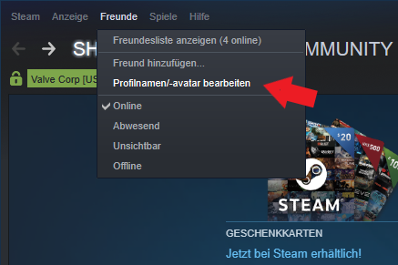 Valve Steam: Name Profilname Username ändern