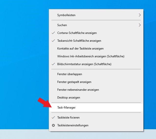 Windows 10: Task-Manager über Taskleiste öffnen