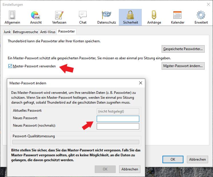 Mozilla Thunderbird: Legt hier ein möglichst Sicheres Passwort fest.