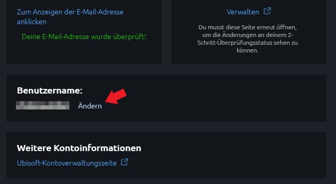 Ubisoft Uplay: Klickt einfach neben eurem jetzigen Namen auf ändern.
