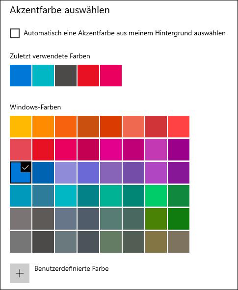 Windows 10: Hier könnt ihr eine Akzentfarbe für das Startmenü auswählen.