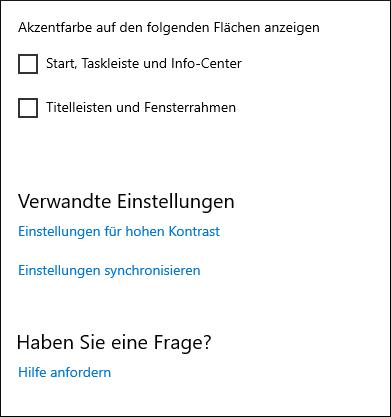 Windows 10: Weiterhin kann man die Farbe der Taskleiste oder z.B. des Info-Centers ändern