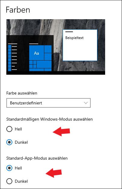 Windows 10: Wählt hier aus, ob ihr lieber ein helles oder dunkles Windows haben wollt.