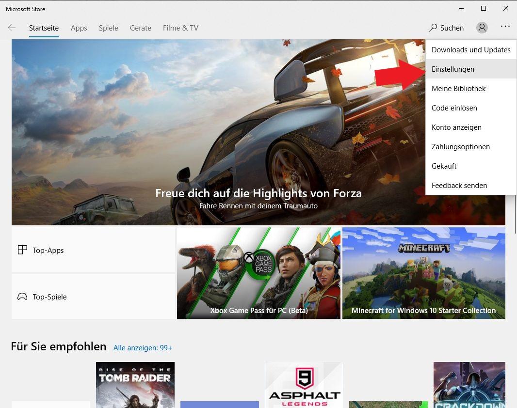 Windows 10: Klickt im Windows Store nun auf Einstellungen. So öffnet ihr die Einstellungen