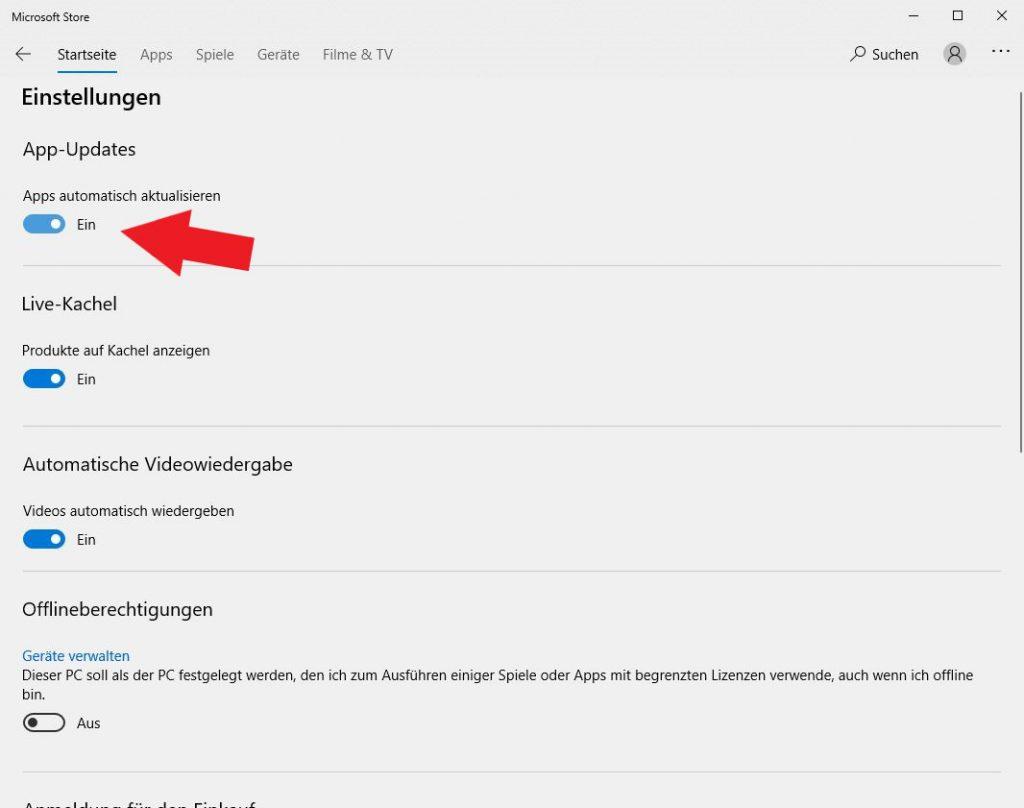 Windows 10: In den Einstellungen des Microsoft Stores könnt ihr nun ganz einfach die automatischen App-Updates deaktiveren.