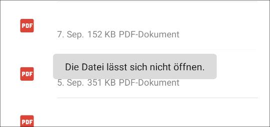 Android Die Datei lässt sich nicht öffnen PDF Samsung Huawei