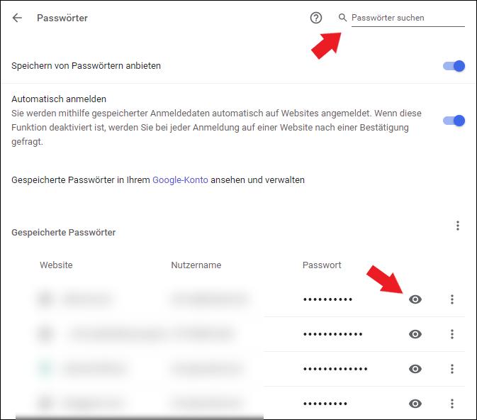 Google Chrome Passwörter suchen, gespeicherte Passwörter anzeigen