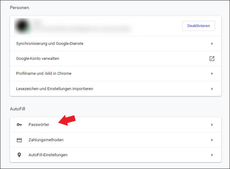 Google Chrome Einstellungen Passwörter