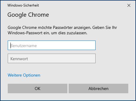 Google Chrome Windows Passwort eingeben