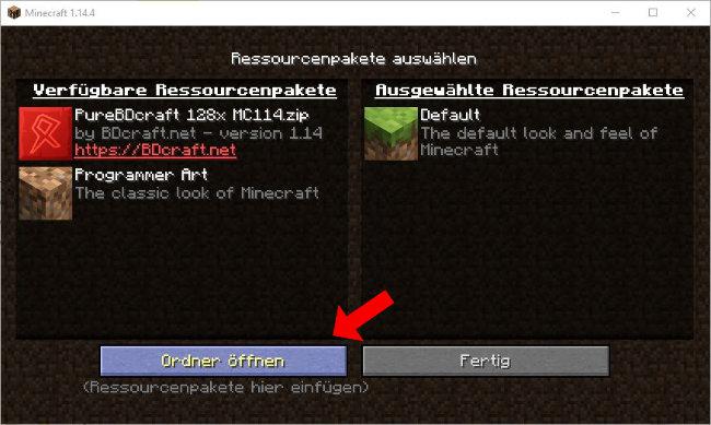 So könnt ihr auch in euren .minecraft Ordner kommen, über das Ressourcepack Menü im Spiel