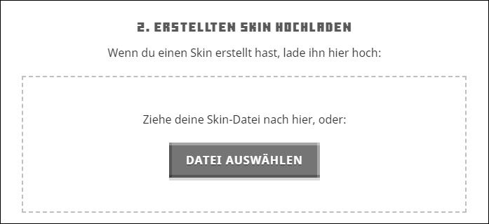 Minecraft Skin hochladen Datei auswählen