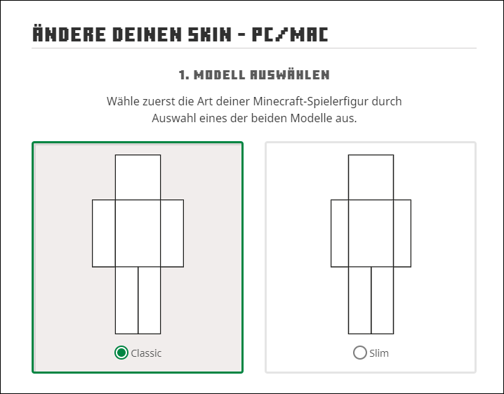 Minecraft Skin Classic oder Slim