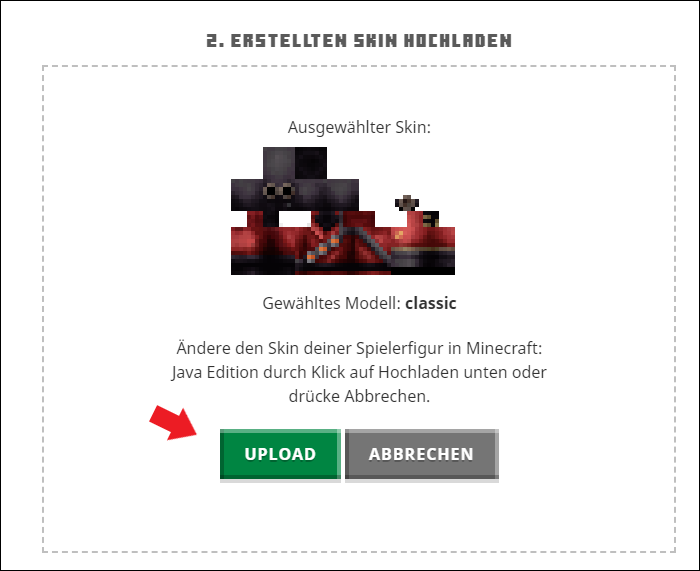 Minecraft Skin upload