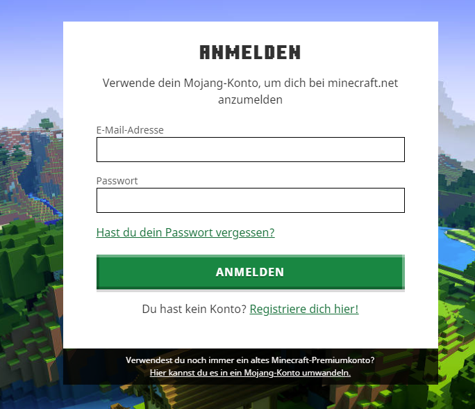 Mojang Minecraft: Login
