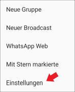 WhatsApp: Einstellungen Menü