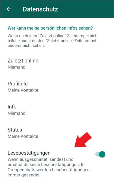 WhatsApp Datenschutz Lesebestätigungen