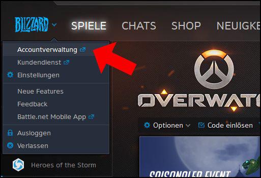 Blizzard Battle net Accountverwaltung aufrufen klicken